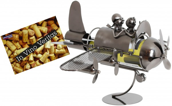 BRUBAKER Flaschenhalter Paar im Flieger Metall Skulptur Geschenk mit Geschenkkarte