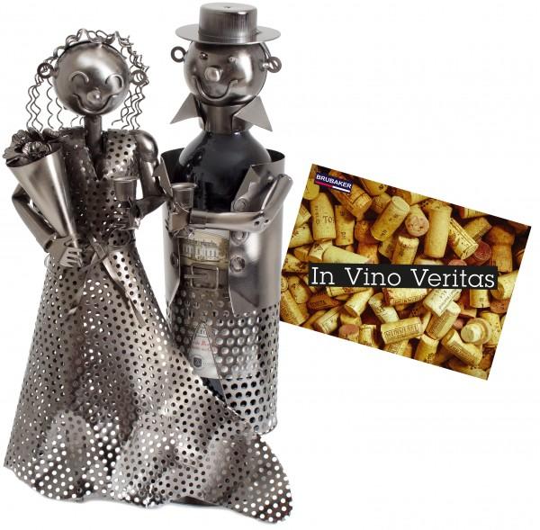 BRUBAKER Flaschenhalter Hochzeitspaar Metall Skulptur Geschenk mit Geschenkkarte