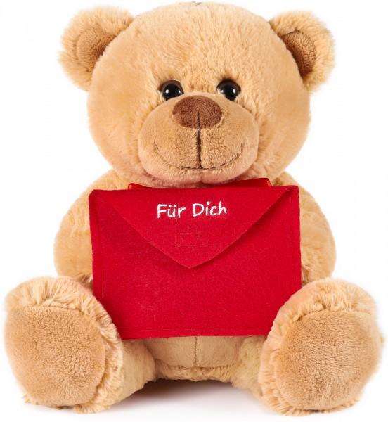 Teddybär mit Umschlag Rot - Für Dich - 25 cm - Teddybär Plüschteddy Kuscheltier Schmusetier - Braun