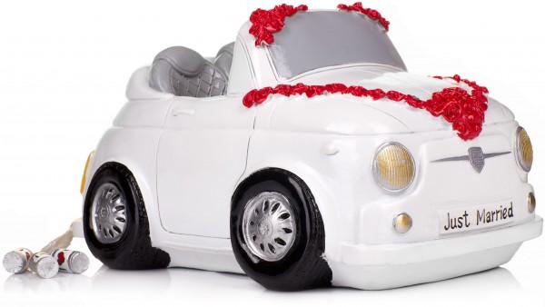 Spardose Hochzeitscabrio weiß - originelle Geschenkidee
