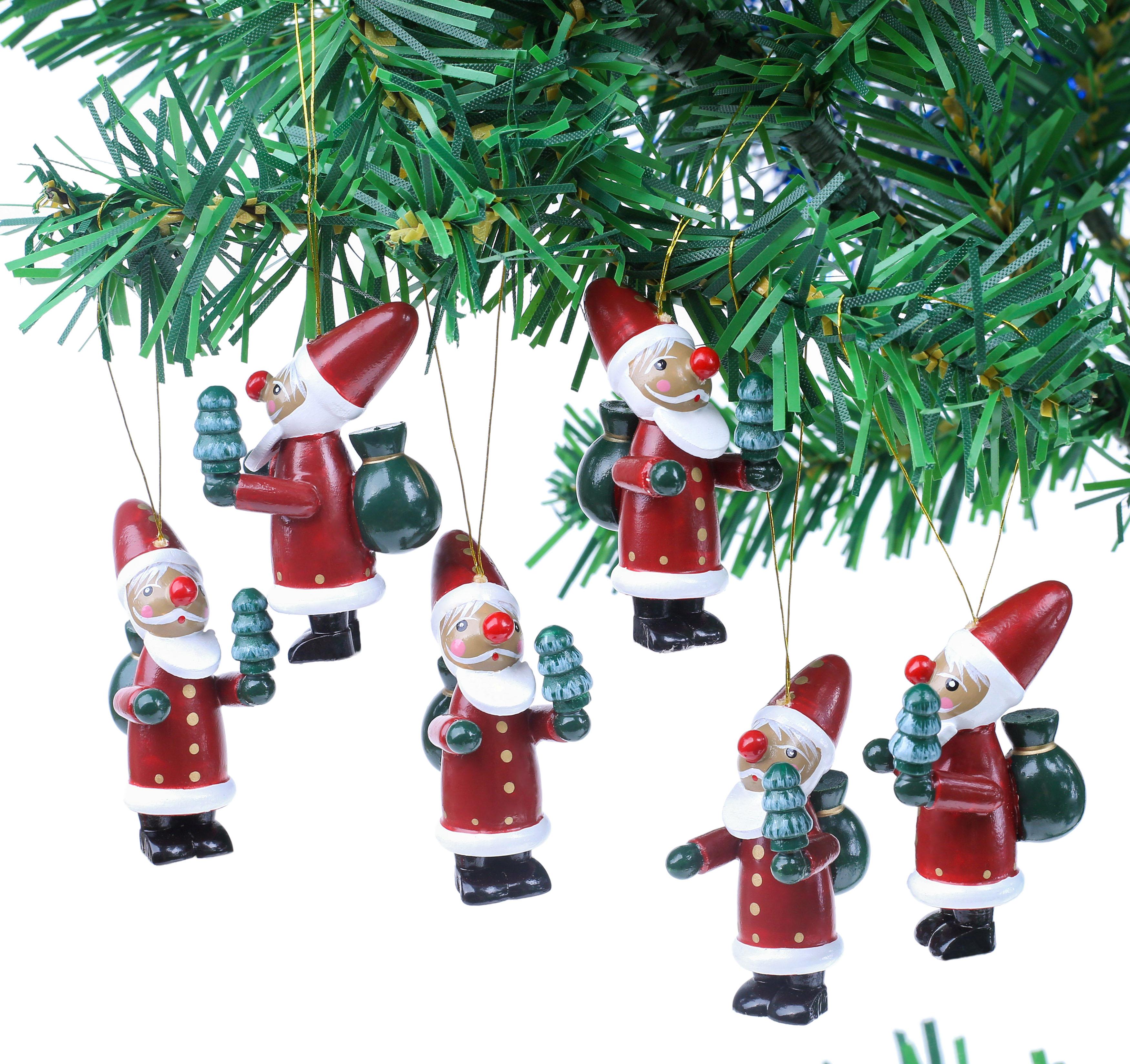 Weihnachtsbaum-Schmuck Holz Figuren Handbemalt Geschenkbox Holzanhänger 22 tlg