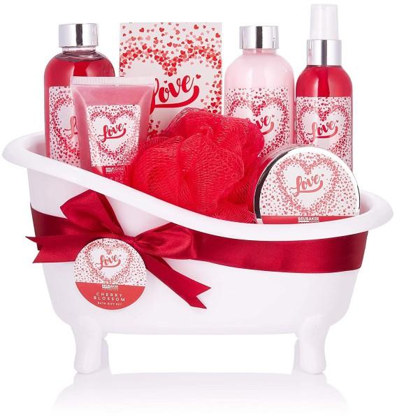 BRUBAKER Cosmetics Bade- und Dusch Set Love - Kirschblüte - 8-teiliges Geschenkset in dekorativer Wa