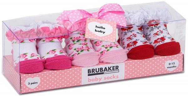 """3 Paar Babysocken """"Blumen und Rüschen"""" in Geschenkverpackung, 0-12 Monate"""
