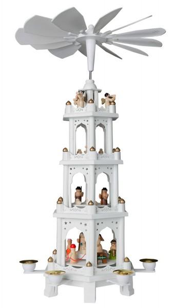 BRUBAKER Weihnachtspyramide aus Holz Weiß 4 Etagen 60 cm Höhe handbemalte Figuren!