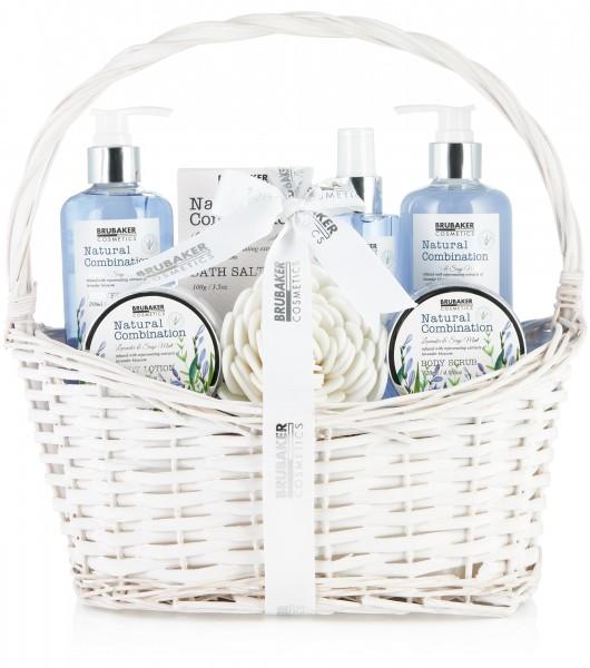 8-tlg. Beauty Pflege Set mit Lavendel & Salbei Minze Extrakten - Geschenkset im Henkelkorb