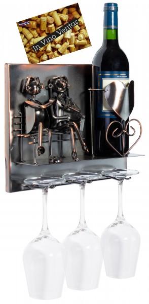 BRUBAKER Wand Flaschenhalter Liebespaar - Deko-Objekt für Wein aus Metal mit mit Grußkarte
