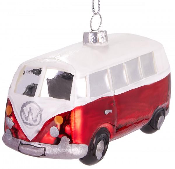 Bulli Bus Rot Weiß - Handbemalte Weihnachtskugel aus Glas - Mundgeblasener Christbaumschmuck - 10 cm