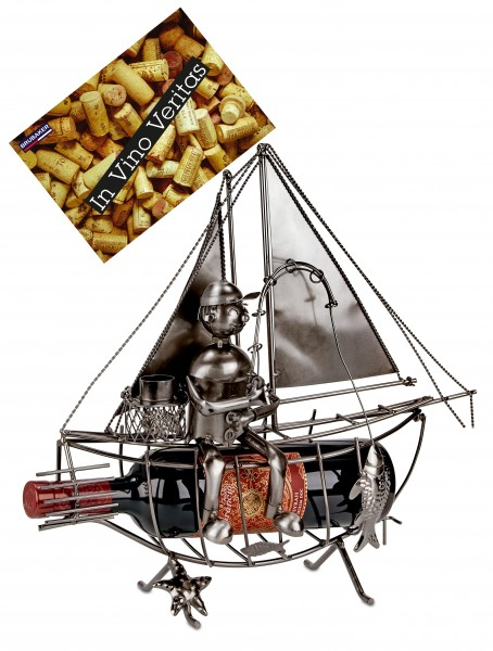BRUBAKER Flaschenhalter Segelboot mit Angler - Flaschenständer für Wein aus Metall mit Grußkarte
