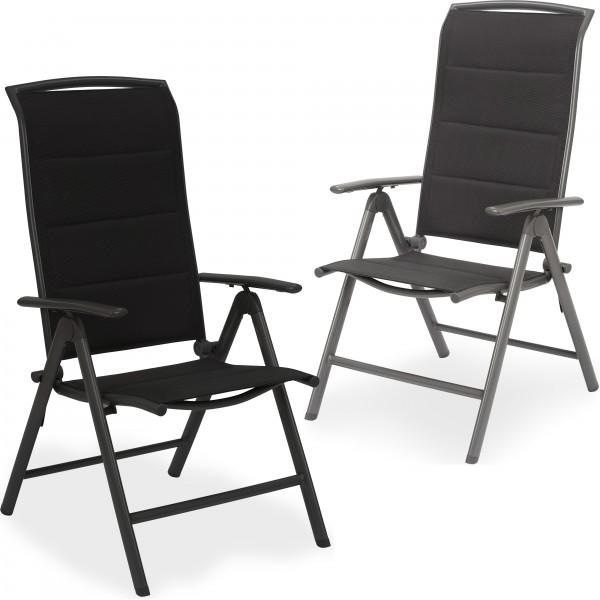 Gartenstuhl Milano - Hochlehner Stuhl klappbar - 8-Fach verst. Rückenlehne - Aluminium - Wetterfest