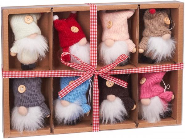 8-teiliges Set Weihnachtszwerge aus Holz und Strick - Baumanhänger - 9 cm in Geschenkbox