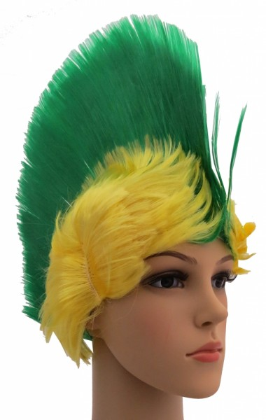 BRUBAKER Brasilien Fan Perücke Irokese Iro-Perücke Grün Gelb Fußball WM Olympia