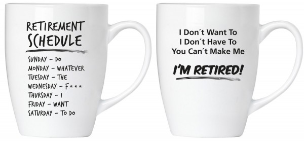 """BRUBAKER """"Retirement schedule"""" Tassen Set aus Keramik - Grußkarte und Geschenkpackung"""