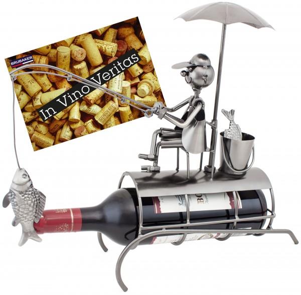 BRUBAKER Flaschenhalter Angler mit Sonnenschirm Metall Skulptur mit Geschenkkarte