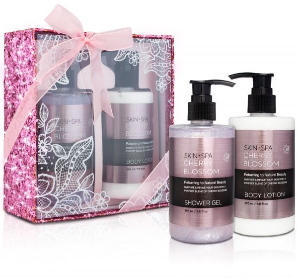BRUBAKER Beautyset Cherry Blossom Skin + Spa - 2 tlg. - Kirschblüten Duft - Glitzer Geschenkbox