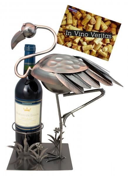 BRUBAKER Flaschenhalter Flamingo - Flaschenständer für Wein aus Metal mit mit Grußkarte