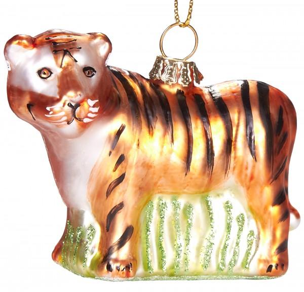 Tiger - Handbemalte Weihnachtskugel aus Glas - Mundgeblasener Christbaumschmuck Baumkugel - 7,5 cm
