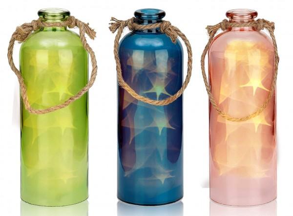 Lichterflasche mit 10 LEDs - Dekoflaschen - Flaschenlicht - 11 x 31,5 cm Höhe