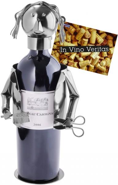 Weinflaschenhalter Frisör - Weingeschenk Flaschenständer - Metallfigur mit Grußkarte