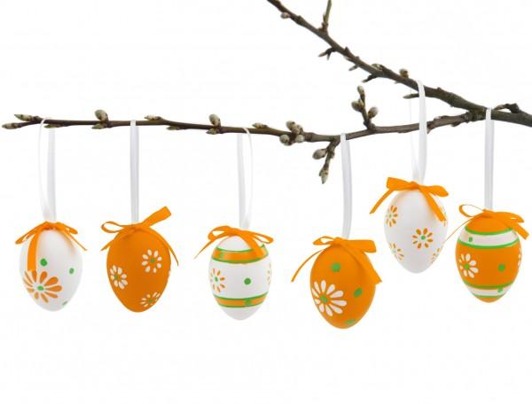 BRUBAKER Ostereier 6,5 cm Kunststoff Orange Weiß - 24 Stück mit Aufhängern und Schleifen