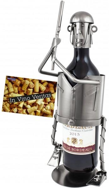 BRUBAKER Weinflaschenhalter Baseballspieler Flaschenständer Deko-Objekt Metall mit Grußkarte für Wei
