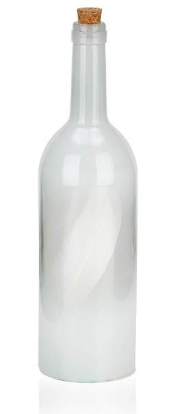 BRUBRUBAKER Lichterflasche in 3 Farben mit Federn und 10 LED Lichtern 32 cm Höhe