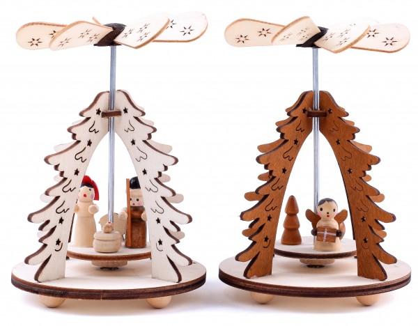 2er Set Weihnachtspyramide 1-stöckig Tannenbaum - Engel und Christi Geburt - aus Holz 8 x 11,5 cm