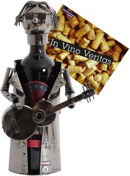 BRUBAKER Flaschenhalter Rockstar Gitarre Metall Skulptur Geschenk mit Geschenkkarte
