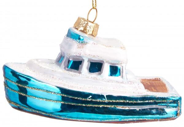 Boot - Handbemalte Weihnachtskugel aus Glas - Mundgeblasener Christbaumschmuck Baumkugel - 10,5 cm