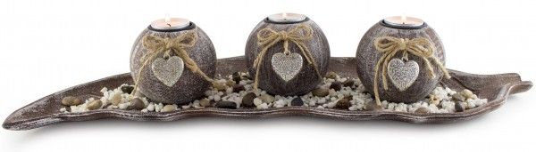 4er BRUBAKER Teelichthalter Set Herz inklusive Teelichte, Dekosteine und Unterteller