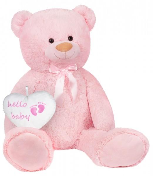 XXL Teddybär 100 cm mit Hello Baby Herz - Geschenk für Neugeborene - Kuscheltier - Rosa