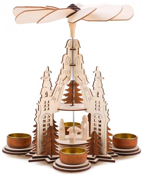 Weihnachtspyramide aus Holz - 29 cm - Maria, Josef und Jesus - 2 Etagen - mit 4 Teelichthaltern