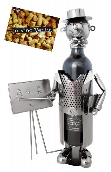Weinflaschenhalter Lehrer mit Tafel Deko-Objekt Metall - Flaschenständer mit Grußkarte Weingeschenk