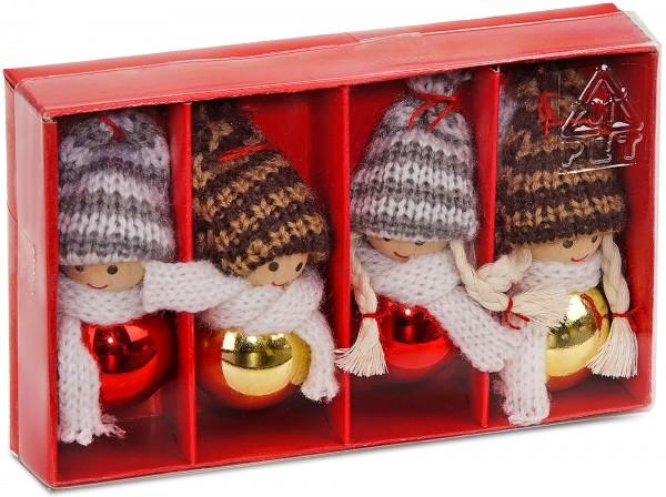 4-teiliges Set Weihnachtswichtel aus Holz und Strick Baumanhänger 8 cm in Geschenkbox