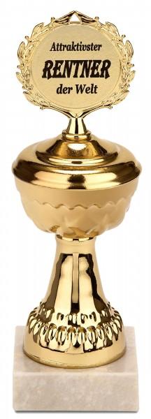 Pokal Attraktivster Rentner der Welt - Goldene Trophäe mit Marmorsockel - Geschenk zur Rente