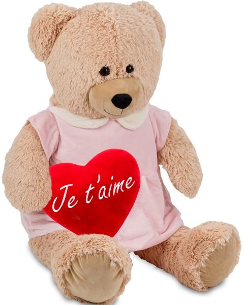 Bärenmädchen mit rosa Kleid - 100 cm - Beige - mit einem 'Je T'Aime' Plüschherz - Stofftier