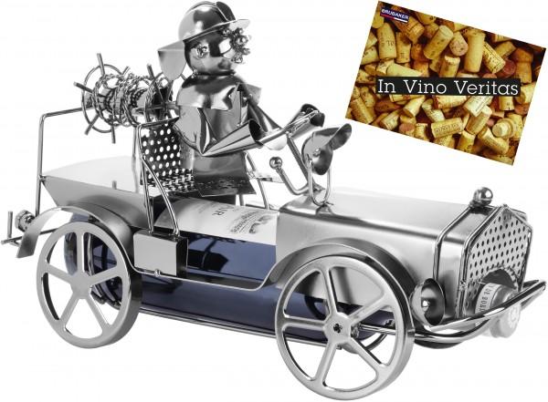 BRUBAKER Wein Flaschenhalter Feuerwehrauto Metall Skulptur mit Geschenkkarte