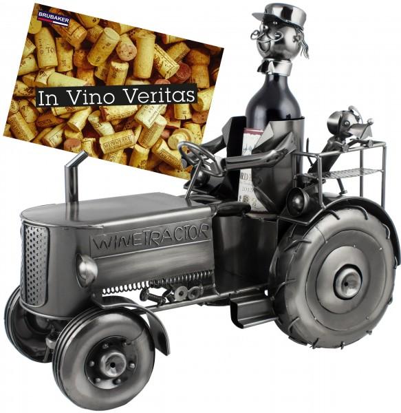 BRUBAKER Universal Flaschenhalter XXL Traktor Metall Skulptur mit Geschenkkarte
