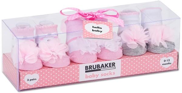 """3 Paar Babysocken """"Tüllrüschen und Punkte"""" in Geschenkverpackung, 0-12 Monate"""
