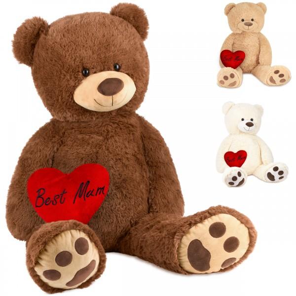 Teddybär 100 cm mit einem Best Mum Herz - Stofftier Plüschtier Kuscheltier
