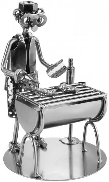 Schraubenmännchen Barbecue Grill - Grillmeister Metallfigur Handarbeit