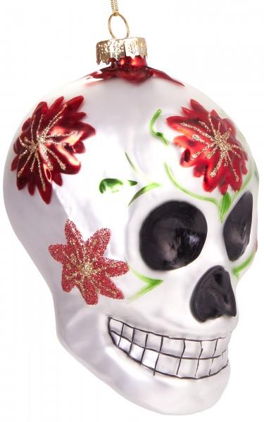 Totenkopf Mexiko - Handbemalte Weihnachtskugel aus Glas - Mundgeblasener Christbaumschmuck - 11 cm