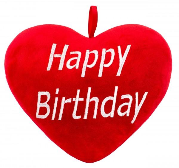 Brubaker Plüschkissen in Herzform - Happy Birthday - Rot 32 cm - Herzkissen Bestickt