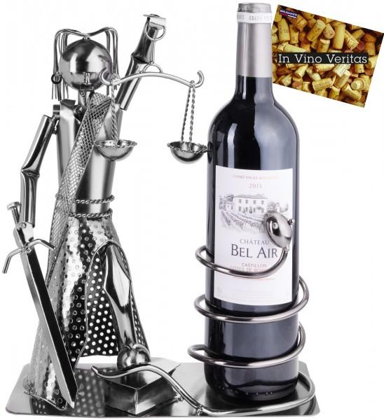 Weinflaschenhalter Justitia mit Schlange - Weingeschenk Flaschenständer - Metallfigur mit Grußkarte