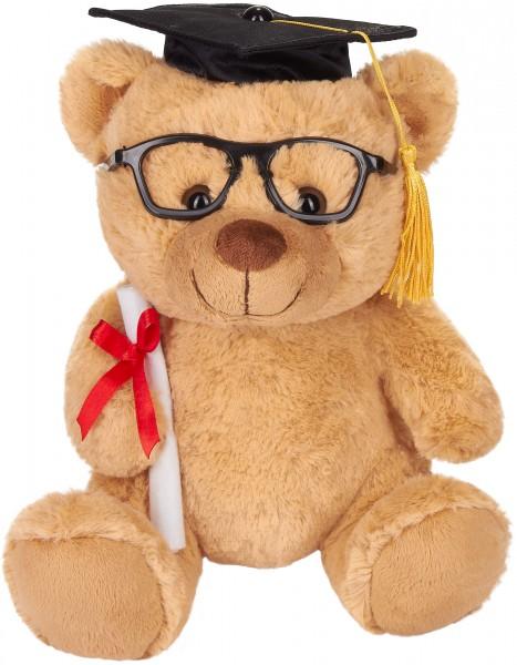Teddy Plüschbär mit Brille, Diplom und Doktorhut - Kuscheltier für den Abschluss