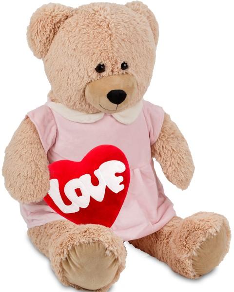 Bärenmädchen mit rosa Kleid - 100 cm - Beige - mit einem 'Love' Plüschherz - Stofftier