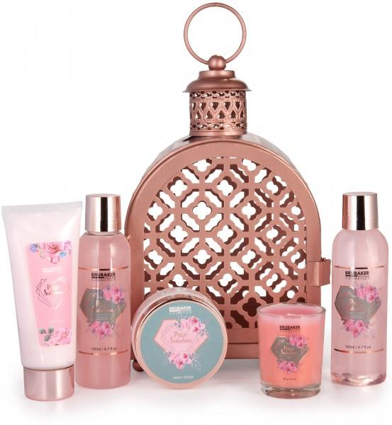6-teiliges Beauty Geschenkset im orientalischen Windlicht - dekorativer Hängekorb Roségold