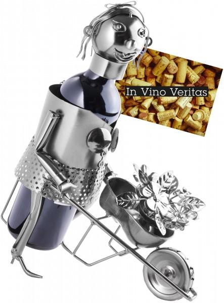 Weinflaschenhalter Gärtnerin - Weingeschenk Flaschenständer - Metallfigur mit Grußkarte