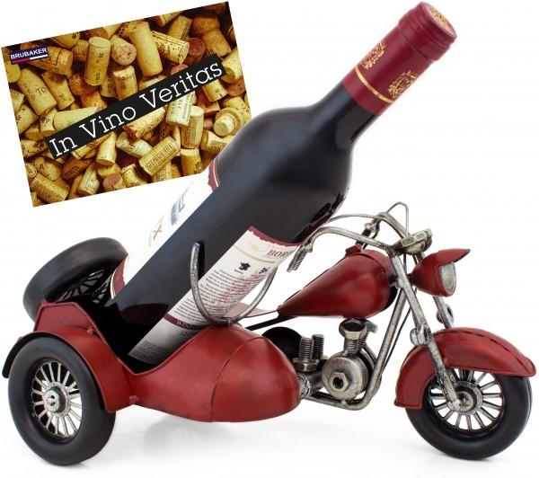 BRUBAKER Flaschenhalter Vintage Motorrad mit Beiwagen aus Metall - mit Geschenkkarte