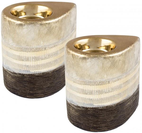 2er Set BRUBAKER Teelichthalter Porzellan gold braun - mit 10 Teelichtern inklusive
