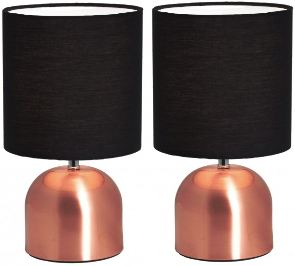 2er Set BRUBAKER Tisch- oder Nachttischlampen 28 cm Kupfer / Schwarz- Designed in Germany